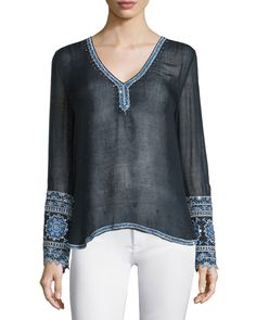 Lian Long-Sleeve Embellished Top, Navy - Calypso St. Barth