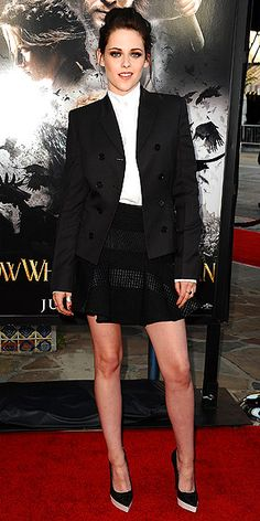 Kristen Stewart in tailored blazer, high-collar button up and black flared skirt at LA screening of 'Snow White and the Huntsman'