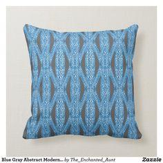 Blue Gray Abstract Modern Art Pattern Pillow.  #bluehome #decoratingwithblue #bluedecor #throwpillows #homedecor #pillows #throwpillowsforbed #eleganthomes #pillowpattern