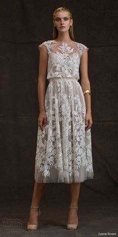 "Limor Rosen 2016 Wedding Dresses — ""Treasure"" Bridal Collection limor rosen bridal 2016 treasure grace wedding dress lace floral cap sleeve crop top blush tulle knee length skirt Discount Limor Rosen blush ivory weddingLace Wedding Dress, Cap S Trendy Dresses, Elegant Dresses, Beautiful Dresses, Nice Dresses, Short Dresses, Dinner Dresses, Reception Dresses, Knee Length Dresses, Cocktail Dresses"