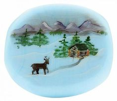"""Fenton Artisan Crafted Glass Bead Dawn's Early Light - 1.26"""" Oval"""