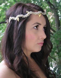 Bridal Gold Halo, Wedding Boho Hair Wreath $95