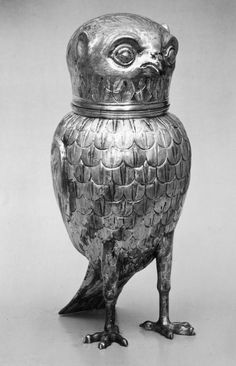 Silver and gilt owl drinking cup
