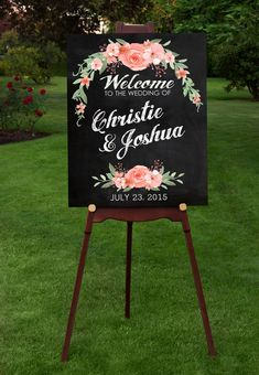 Personalized Wedding Welcome sign print for your special day.  An elegant and stylish way to welcome your guests. Modern type, with colorful spring flowers on faux chalkboard background and faux chalk text. Personalized with your names and wedding date.