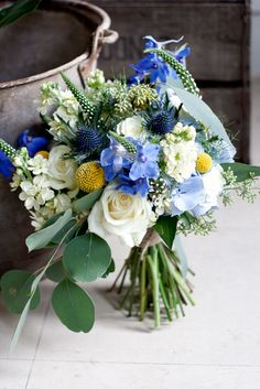 blue bridal bouquet. From Rose&Ammi, a magical flower shop in Edinburgh.