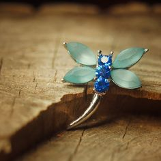Blue dragonfly brooch pin antique styled vintage by Craft365.com ~ US$11.90