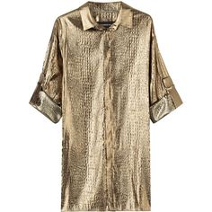 Alexandre Vauthier Metallic Silk-Blend Blouse ($685) ❤ liked on Polyvore featuring tops, blouses, gold, brown crop top, gold metallic top, crop top, brown blouse and shiny blouse