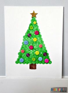 Dot Paint Christmas Tree on Canvas - Easy Christmas Craft for Kids - Use Buttons, Sequins, Glitter or Christmas Ribbon to Decorate