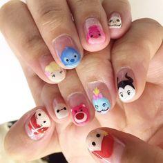 The Nail Artelier Disney Acrylic Nails, Disney Nails, Cute Acrylic Nails, Cute Nails, Pretty Nails, Cute Nail Art Designs, Acrylic Nail Designs, Cartoon Nail Designs, Disney Inspired Nails