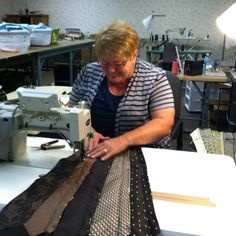 Lois is sewing our re-engineered Tie Skirt.  New for fall and will be on our web site in a couple of weeks!  www.green3apparel.com
