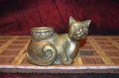 "Solid Brass Cat Planter Figurine Statue Sculpture Art Decor 6 3/4""x4 1/2"" | eBay"