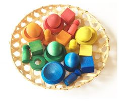 Hand-painted Wood Toys for Open Ended Play on a Vintage Bamboo Storage Tray. Reggio Emilia inspired Loose Parts Play. Valentine's Cards For Kids, Diy For Kids, Crafts For Kids, Toddler Crafts, Grimm's Toys, Diy Toys, Rainbow Rice, Homemade Valentines, Homemade Toys