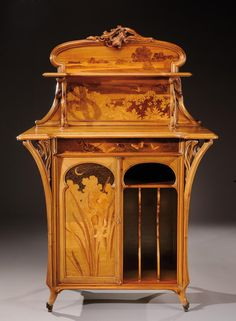 Emile Gallé music cabinet in walnut with rosewood veneer, marquetry background depicting a landscape with exotic butterflies, carved floral cornice work. The curved base and ribbed ends with bronze feet. Art Nouveau Interior, Art Nouveau Furniture, Art Nouveau Design, Belle Epoque, Victorian Furniture, Antique Furniture, Dining Furniture, Furniture Design, Inspiration Art