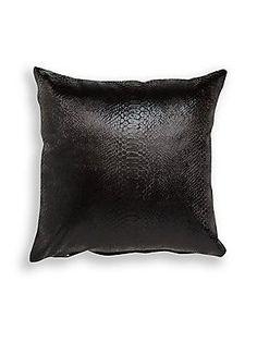 Habitante Crocodile Embossed Linen Decorative Pillow - Black - Size No