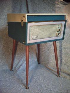 1962 Vintage Dansette Bermuda Record Player Rare Original Turquoise Legs