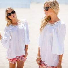 GIRL CALLED FRIDAY Boho Poncho/Blouse/Shirt/Top South Miami Beach Made USA S M L #UrbanPeopleClothing #Blouse #Casual
