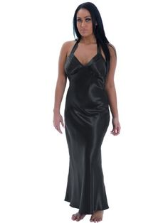 a6c8882ad11a2 Sexy Plus Size Nightgown Black Satin Charmeuse Long Halter Lingerie Gown  Sizes 3X    Visit