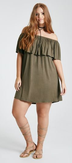 Plus Size Off-The-Shoulder Ruffle Dress