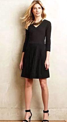 NWOT $158 Anthropologie Ganni black fit & flare stretch pleats Crossknit Dress L #Gannii #fitflaredress #versatile