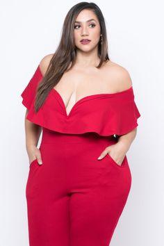 c5524be3b8d Plus Size Frill Jumpsuit - Red – Curvy Sense Erica Lauren