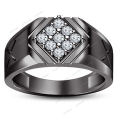 Brilliant Round 0.54 CT Lab Created Diamond in 925 Silver Nine Stone Men's Ring…