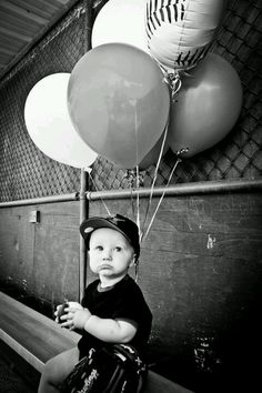 Baron's 1st birthday picture. He is having a Baseball themed party. Photo credit: Rebecca Bishop Photography.