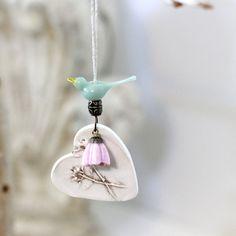 Mint птица орнамент, керамические сердце орнамент, Керамика сердце орнамент, Сельский Уайлдфлауэр елка орнамент, подарок тег