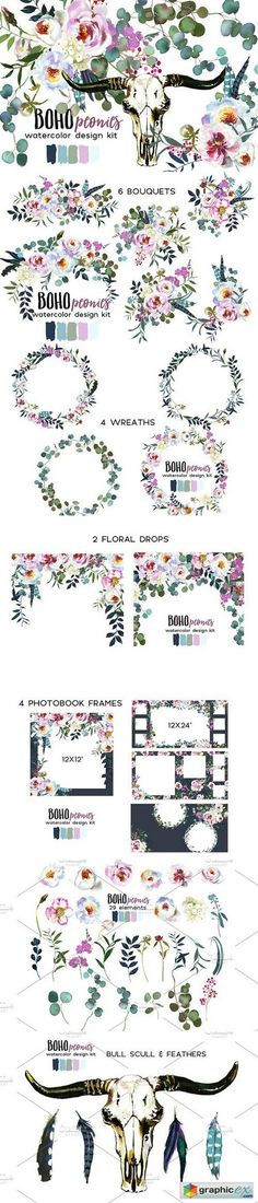 Boho White Pink Peonies Watercolor  stock images