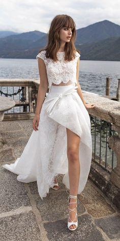 Top 24 High Low Wedding Dresses ❤ high low wedding dresses cap sleeves bateau neck heavily embellished bodice crop top pinella passaro ❤ See more: http://www.weddingforward.com/high-low-wedding-dresses/ #weddingforward #wedding #bride