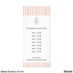 Shop Bakery Goods Rack Card created by Naokko. Create Your Own Card, Create Yourself, Menu List, Cake Illustration, Nice Rack, Rack Card, Menu Items, Promote Your Business, Menu Cards