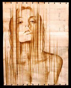 Coffee Paintings on Antique Ledger Paper by Michael Aaron 2