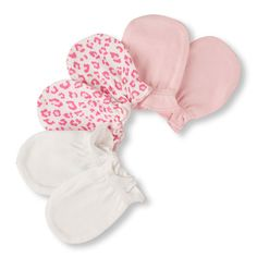 Newborn Baby Leopard Print And Solid Mittens 3-Pack - White - The Children's Place