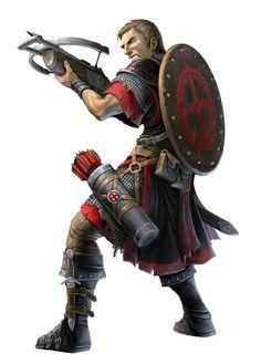 Human Crossbow Fighter - Pathfinder PFRPG DND D&D d20 fantasy