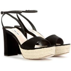 Miu Miu Suede Platform Sandals ( 490) ❤ liked on Polyvore featuring shoes,  sandals dd7ee76a6c