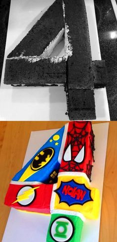 Before and After: Superhero Cake for Four Year Old