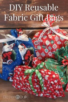 DIY reusable fabric gift bags for Christmas Sample sizes (in inches) using one yard of fabric – 15×20, 10×20 (2), 9×20 (2), 6 1/2 x22 (2) 15×30, 14×15, 9×14 (3), 12 1/2×22 16×22 (2), 12×22, 11×12 (2), 8 1/4×28, 8 1/4×16 15×22 (2), 10×21 (2), 12×18, 12/12×24