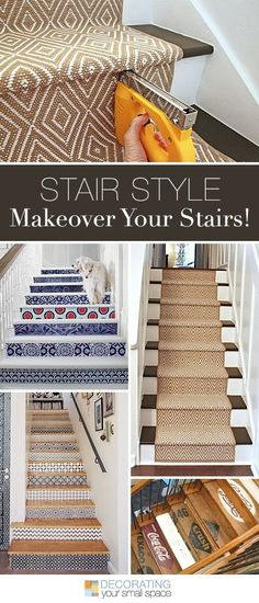 Stair Style - Makeover Your Stairs! - Check out all these stair makeover ideas and projects! Stair Makeover, Home Reno, Basement Remodeling, Home Projects, Diy Home Decor, Home Improvement, Sweet Home, Outdoor Steps, Diy Stair