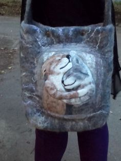 Bag of natural wool Cat tenderness by WoolArtBoutique on Etsy