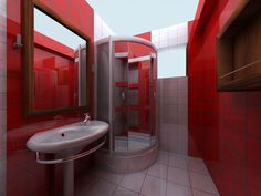 Red Bathroom Color Ideas Features Ceramic Wall And White Modern Small Bathrooms