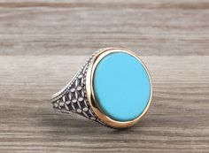 925 k Sterling Silver Men Ring Blue Turquoise Size 12.5 US -60163 #istanbulunique #Eternity