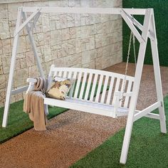 Patio Swing for Two Persons Wood Durable White Finish Coral Coast Pleasant Bay All Weather Curved Back Porch 4 Ft. Porch Swing Frame, Porch Swing With Stand, Patio Swing, Porch Swings, Outdoor Swings, Swing Seat, Octagon Picnic Table, Swing Painting, White Porch
