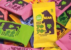 Dried fruit packaging for Bear designed by B and B Studio. So cute
