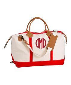 Red Monogram Weekender by CB Station.   Personalized Totes available at Farmbasket.