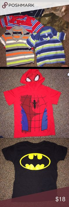 21 Piece 4T Summer Bundle Batman Spider-Man Nike Summer bundle of boys 4T clothes, most are in great shape. A few have stains and two shirts have holes, one the paw patrol which isn't noticeable, I only see it when it's inside out. One of the dress shorts have a few stains in the dress shorts pic and the only tshirts pic is mostly play clothes but the Nike shirt, nothing is wrong with it that I saw. A pair of swim trunks and 2pair of shorts. 1 short has light stain, I look things over is why…