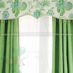 I like the pendant edge shape of this valance - ignore the pattern and color Baby Curtains, Valances & Cornices, Window Rods, Window Plants, Elegant Flowers, Rod Pocket, Flower Prints, Window Treatments, Windows
