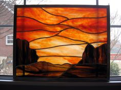 Custom Sunset Stained Glass Panel from www.stainedglassyourway.etsy.com