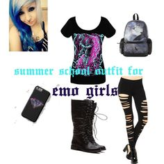 Summer school outfit for emo girls by savannahreed2003 on Polyvore featuring polyvore fashion style