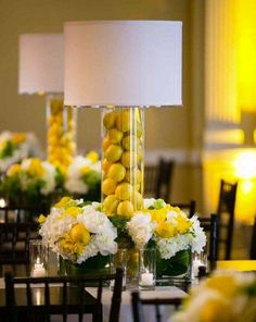 Lampshades as Wedding Decor: 50 Examples of Fabulous: We love the look of lampshades, both vintage and contemporary. And there are myriad ways to incorporate them into your wedding's decor, whether your theme is country-chic or city-glam. Lemon Centerpieces, Wedding Centerpieces, Wedding Table, Wedding Decorations, Wedding Reception, Centrepieces, Wedding Candelabra, Uplighting Wedding, Elegant Centerpieces
