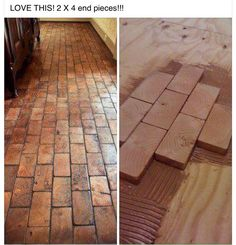 2x4 faux brick floor with wood blocks! Wooden blocks for fake brick flooring awesome diy idea