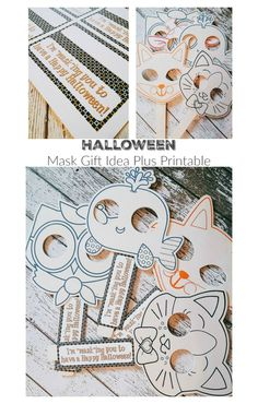 Halloween Mask Gift Idea Plus Printable - A perfect option for classroom parties or trick-or-treaters with food allergies!